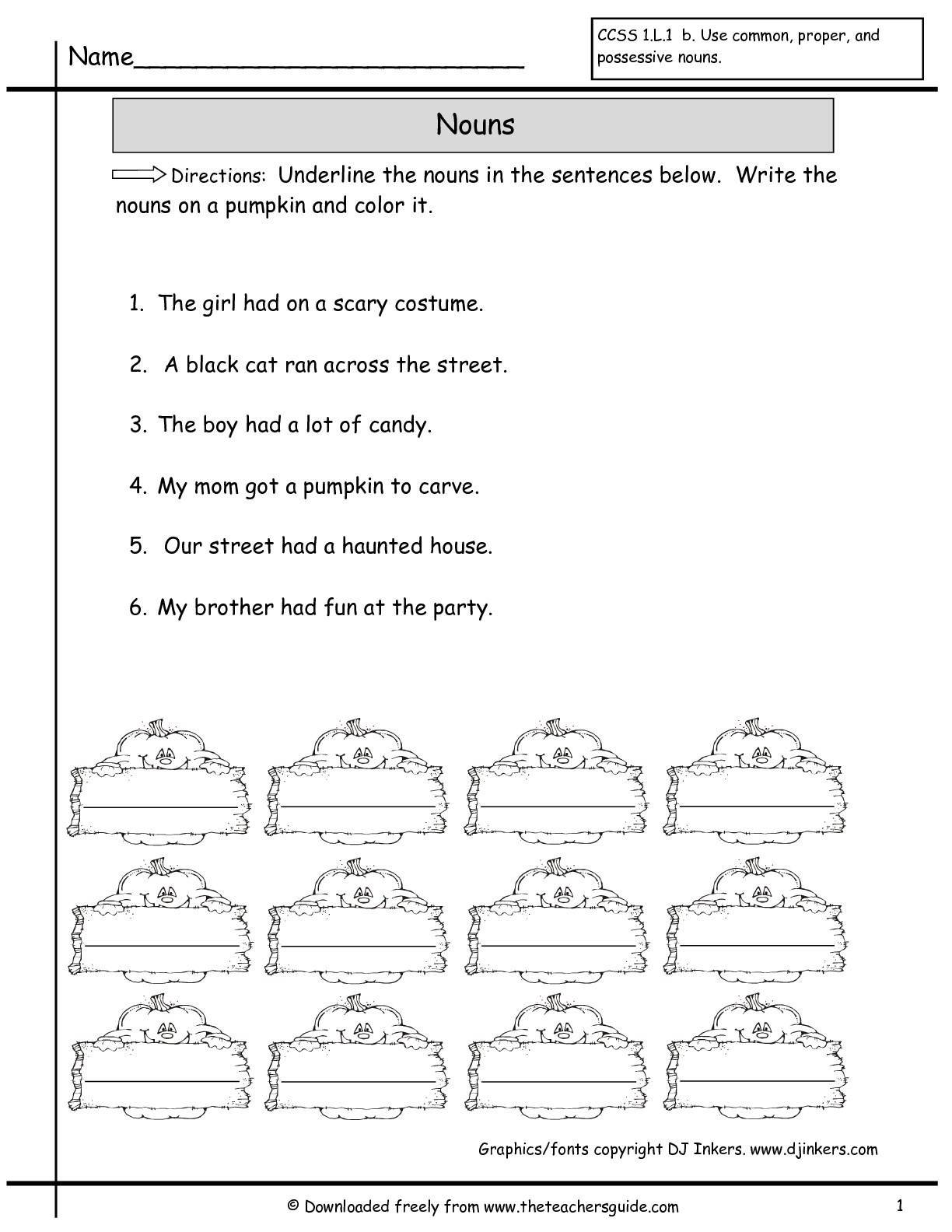 Noun Worksheets For Second Grade Pumpkin Noun Best Free Printable Worksheets