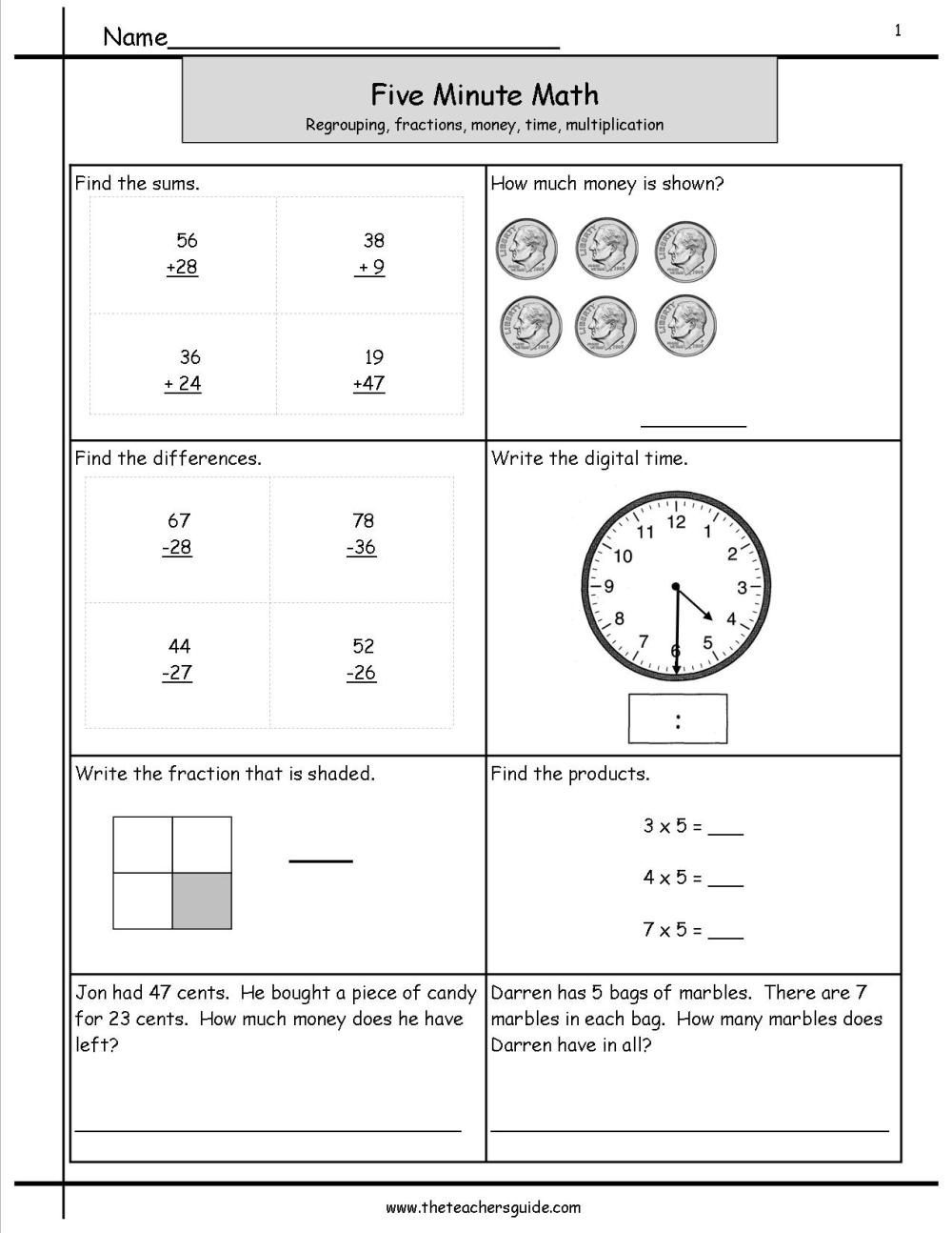 medium resolution of Five Minute Math Review Worksheets from The Teacher's Guide