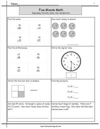 Five Minute Math Review Worksheets from The Teacher's Guide