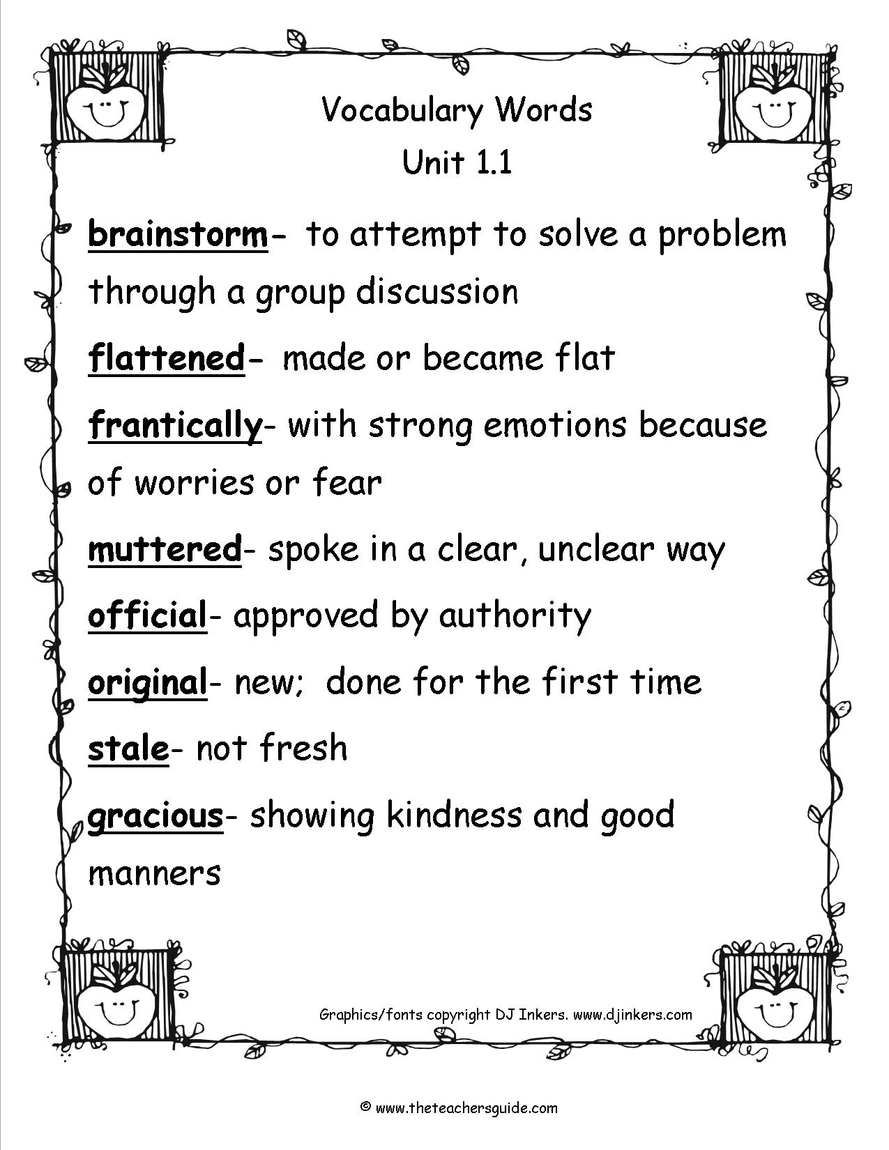 Wonders Fourth Grade Unit One Week One Printouts