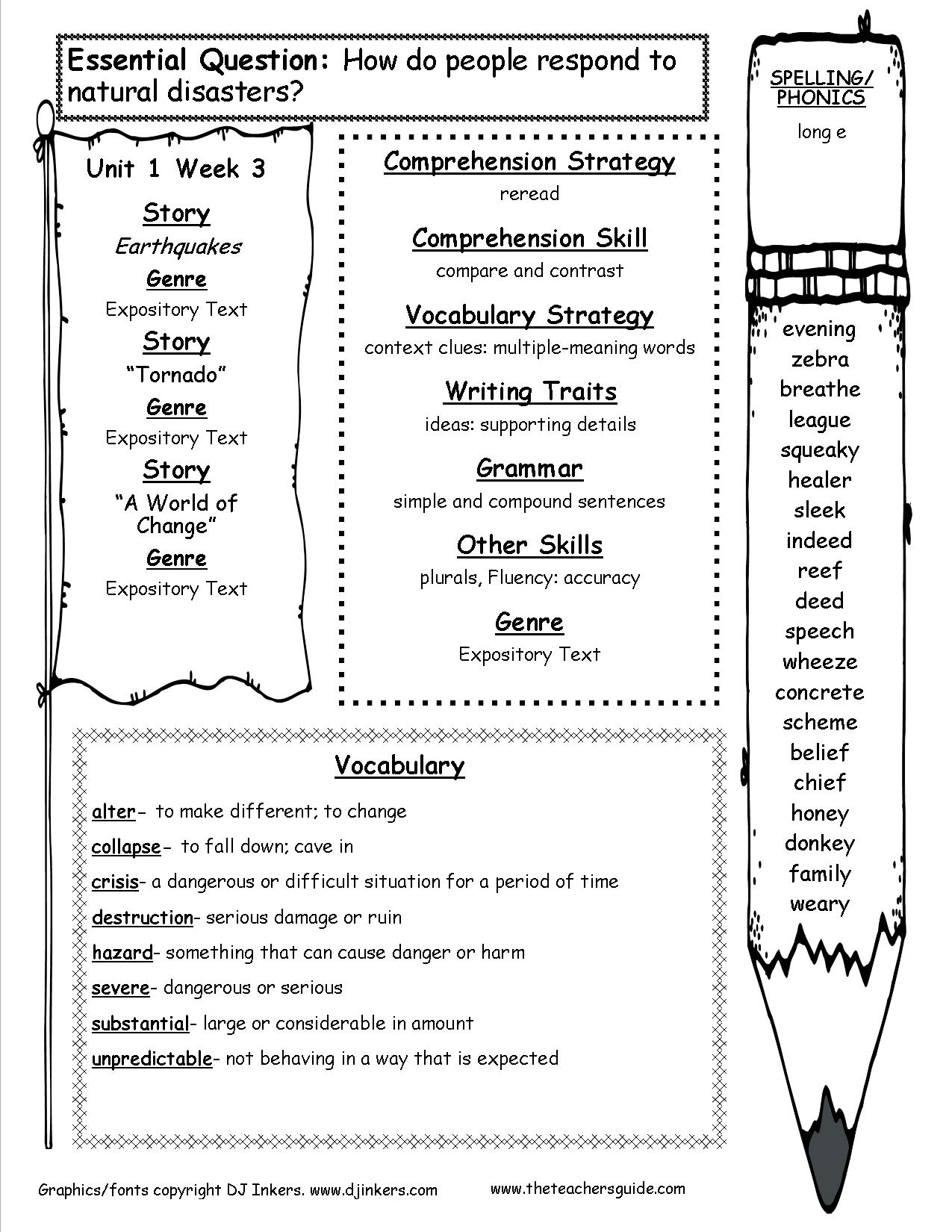 Teacher Worksheet Fourth Grade