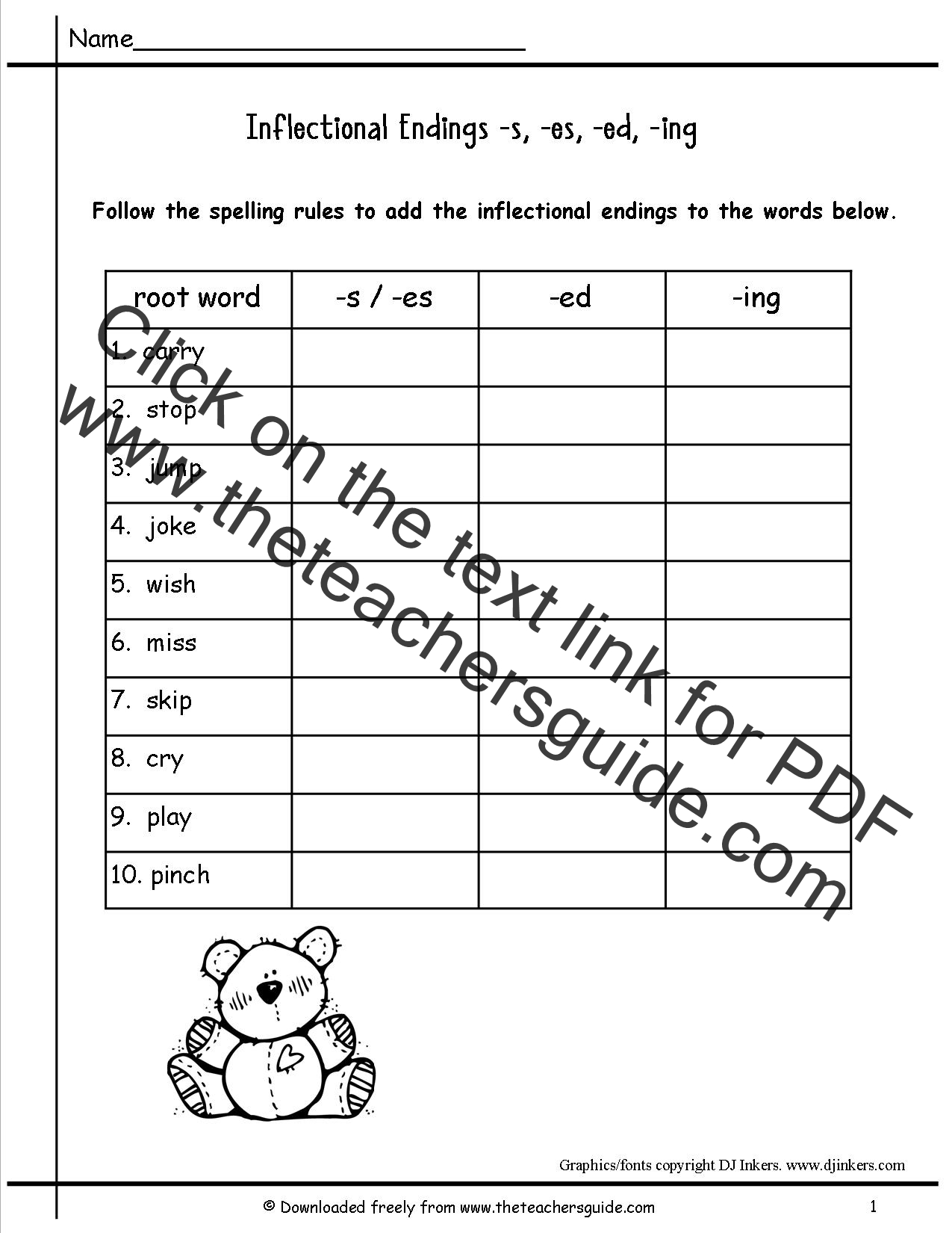 hight resolution of Inflectional Endings Worksheets   Printable Worksheets and Activities for  Teachers