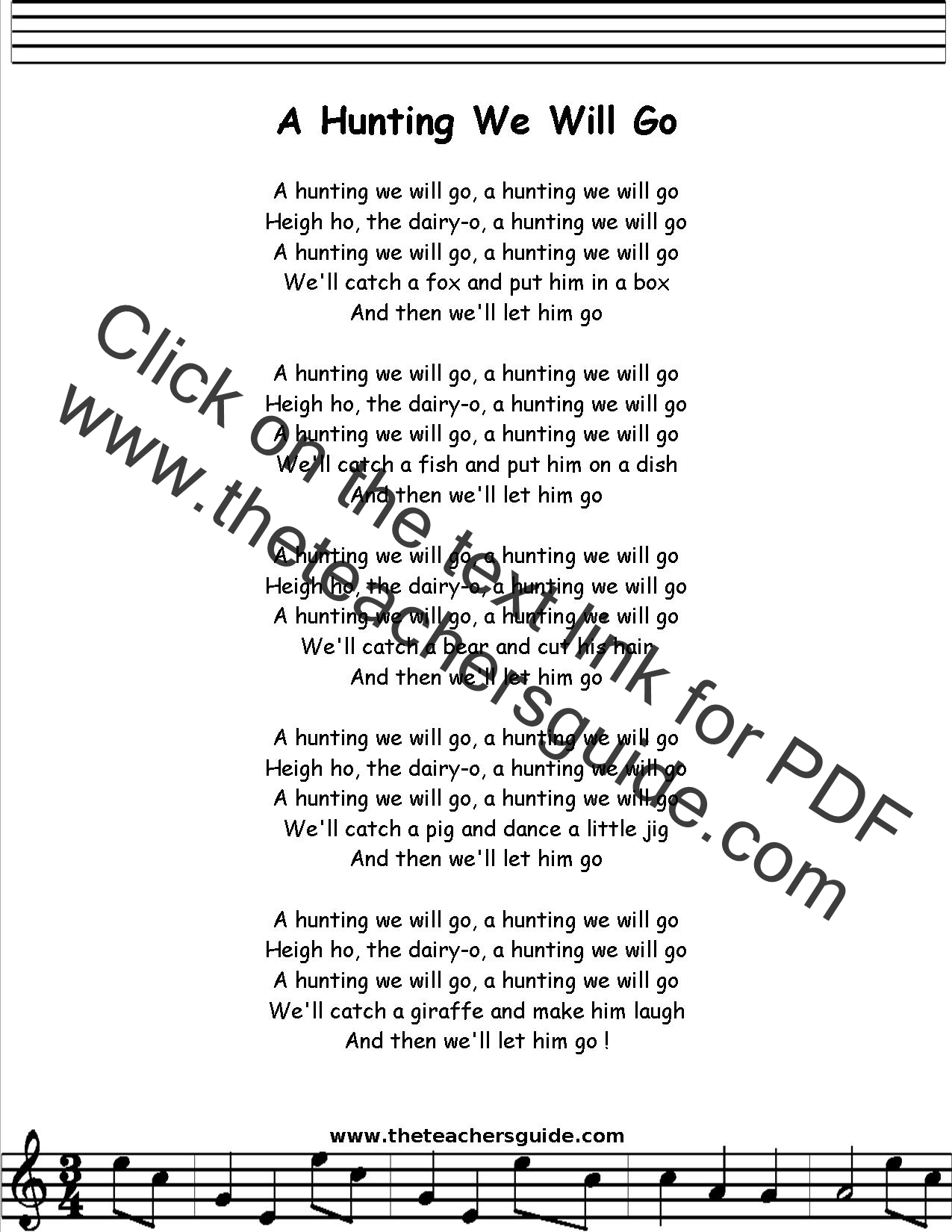A Hunting We Will Go Lyrics Printout Midi And Video