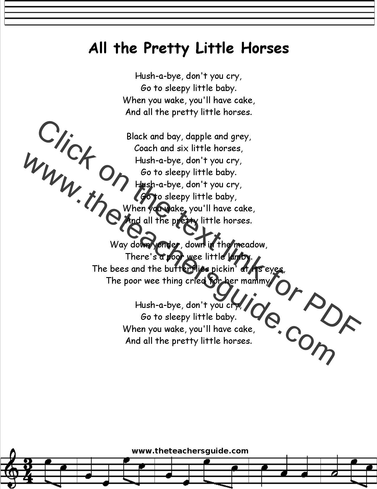 All The Pretty Little Horses Lyrics Printout Midi And Video