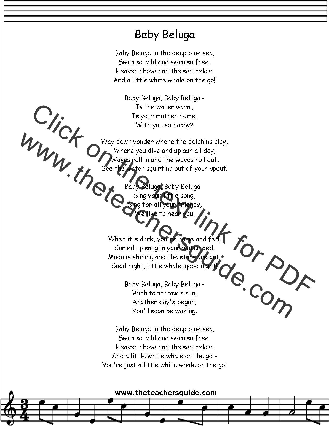 Baby Beluga Lyrics Printout Midi And Video