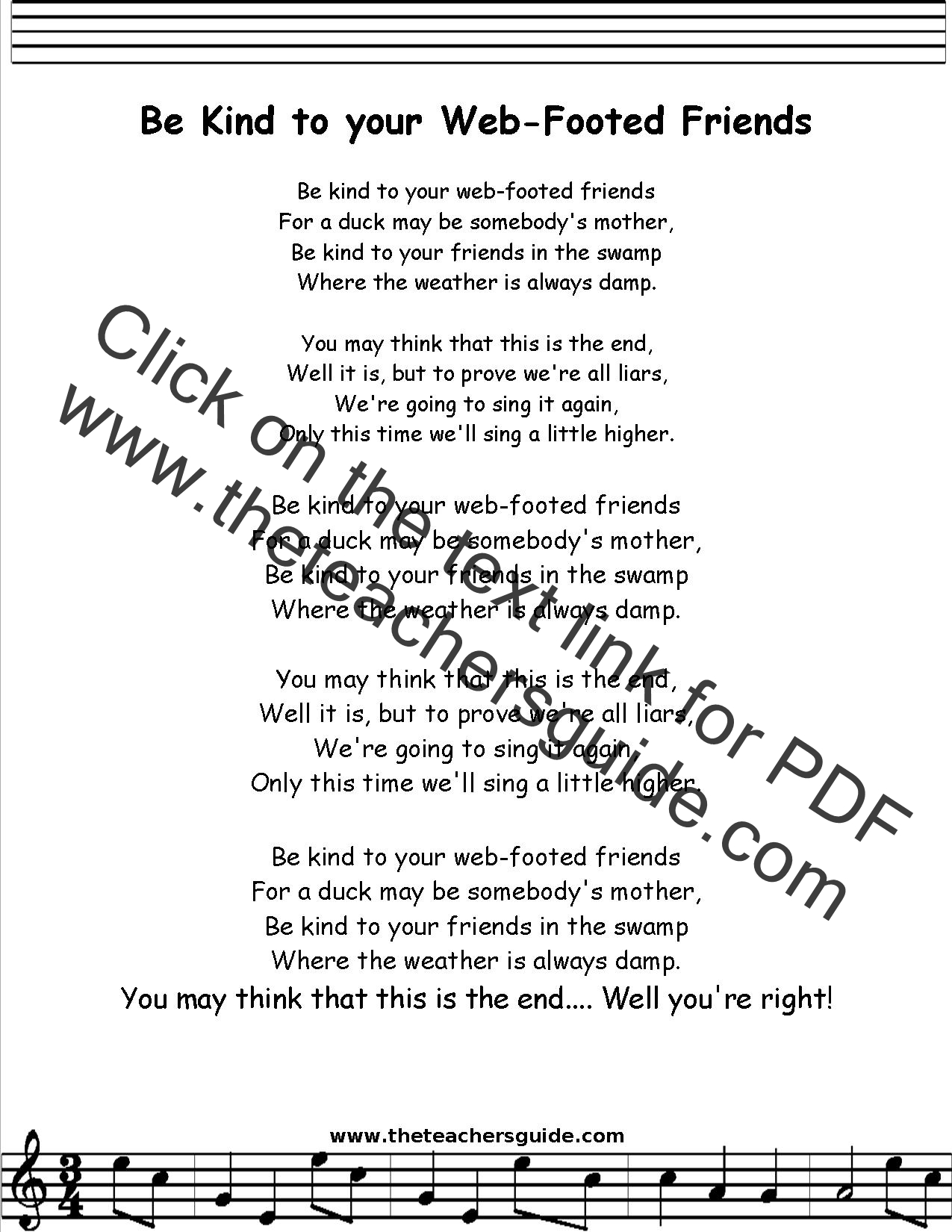 Be Kind To Your Web Footed Friends Lyrics Printout Midi