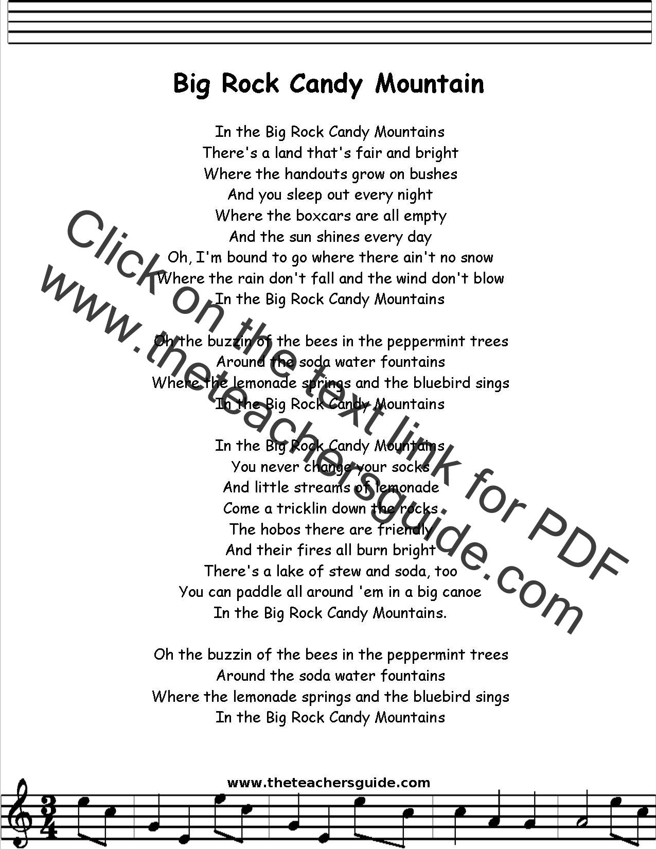 Big Rock Candy Mountain Lyrics Printout Midi And Video