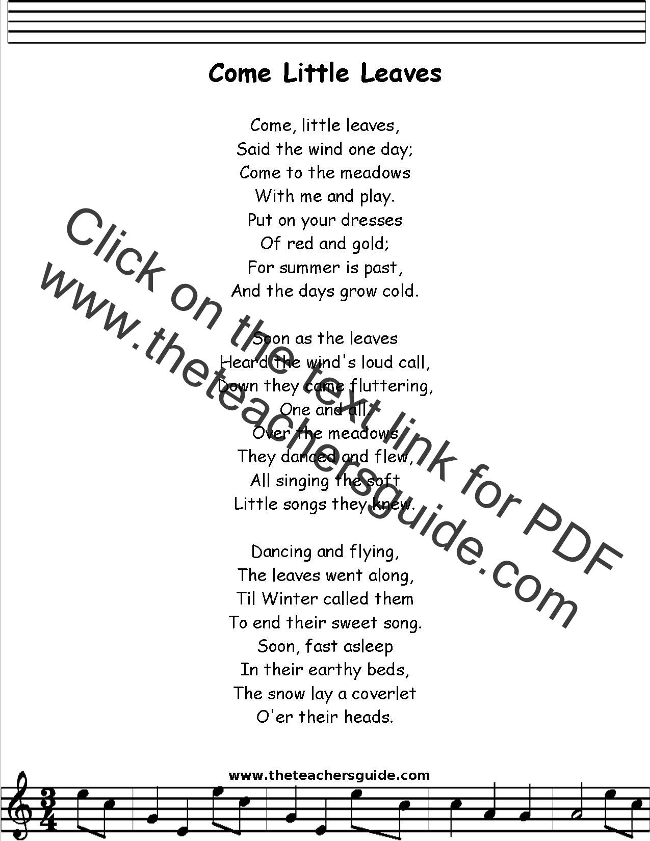 Come Little Leaves Lyrics Printout Midi And Video