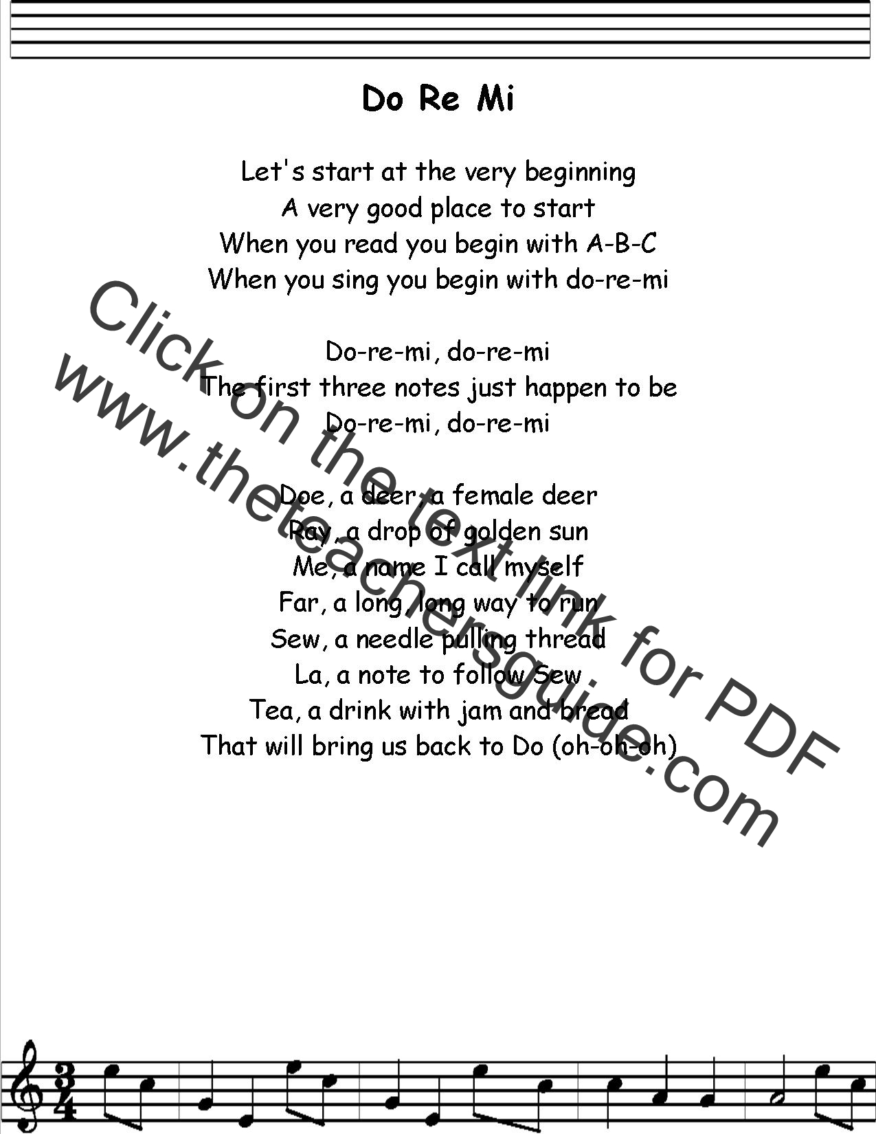 Do Re Mi Lyrics Printout Midi And Video