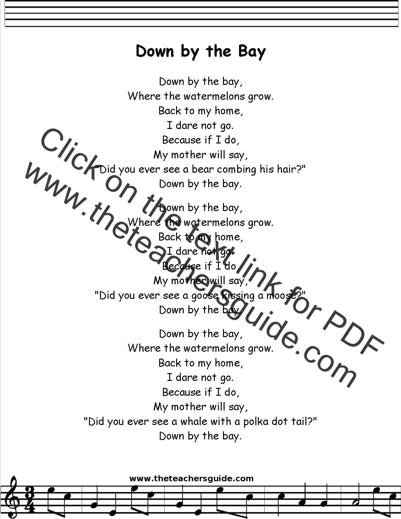 Down By The Bay Lyrics Printout Midi And Video