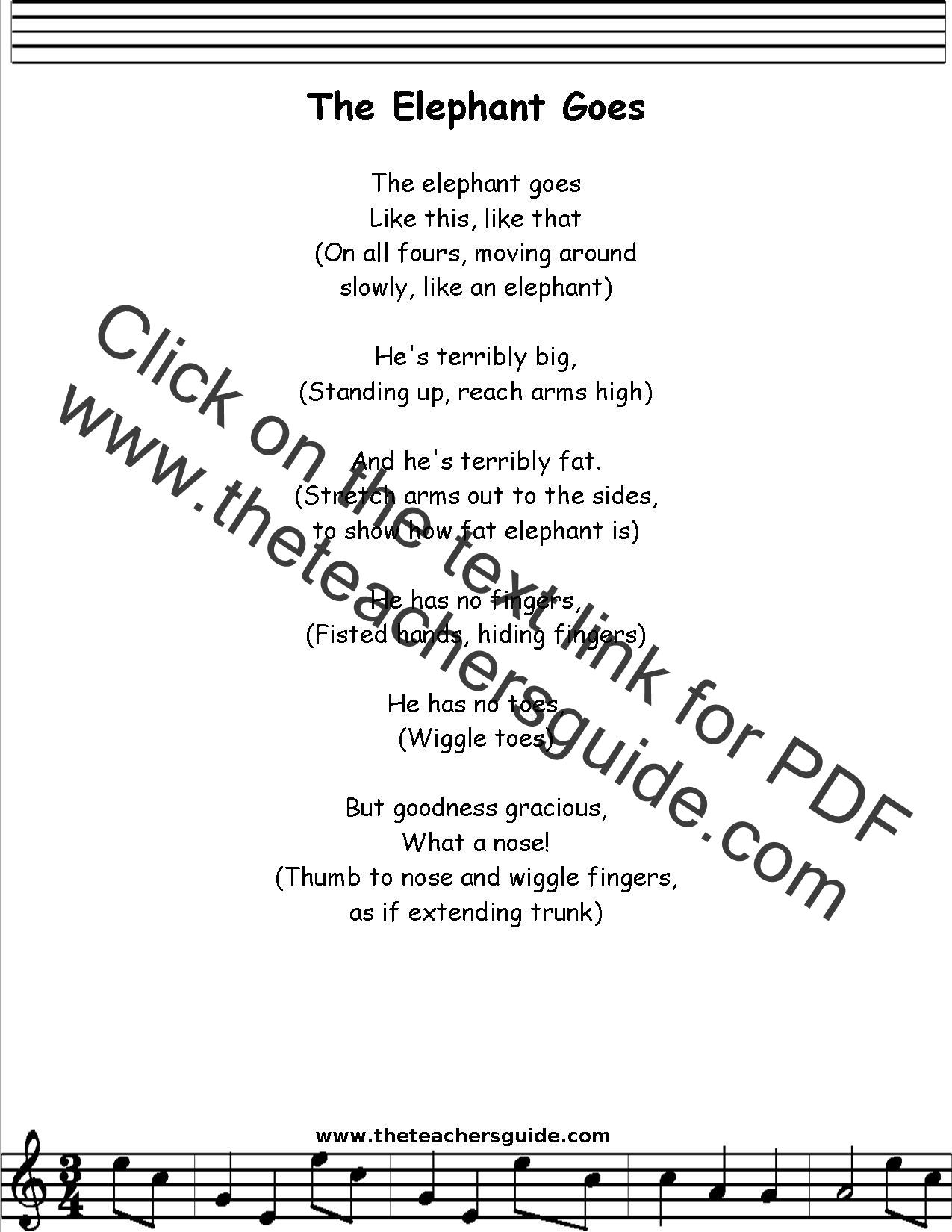 Elephant Goes Lyrics Printout Midi And Video