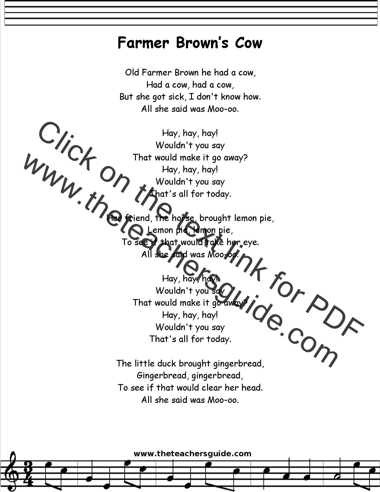 Farmer Brown Lyrics Printout Midi And Video