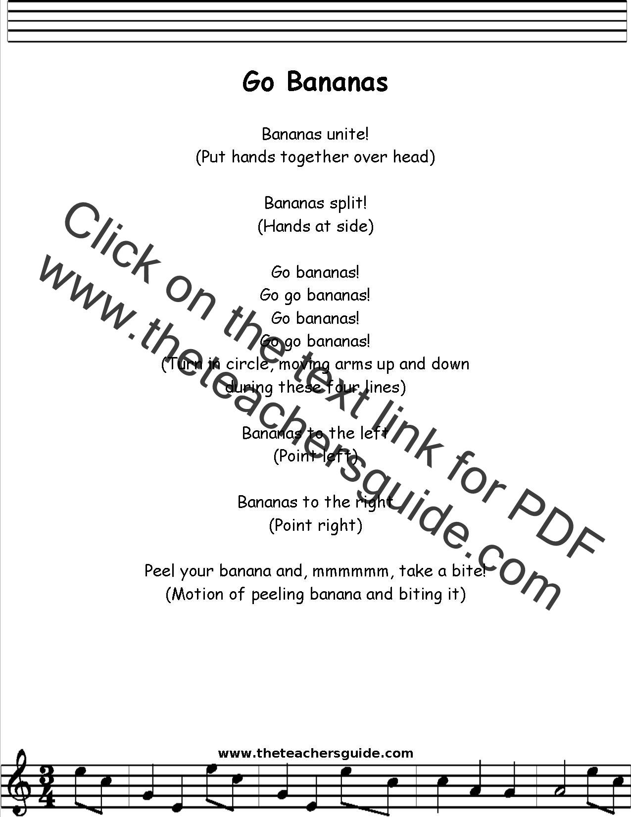 Go Bananas Lyrics Printout Midi And Video