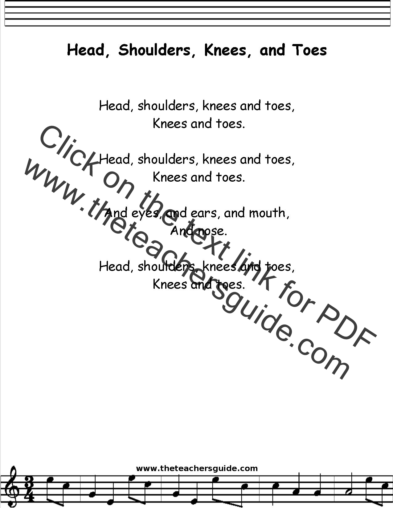 Head Shoulders Knees And Toes Lyrics Printout Midi And Video