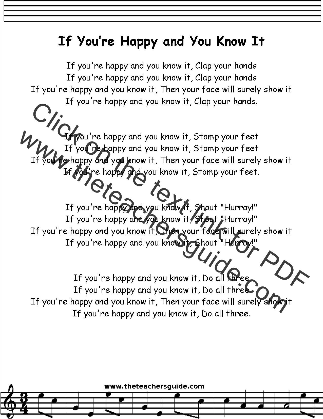 If You Re Happy And You Know It Lyrics Printout Midi