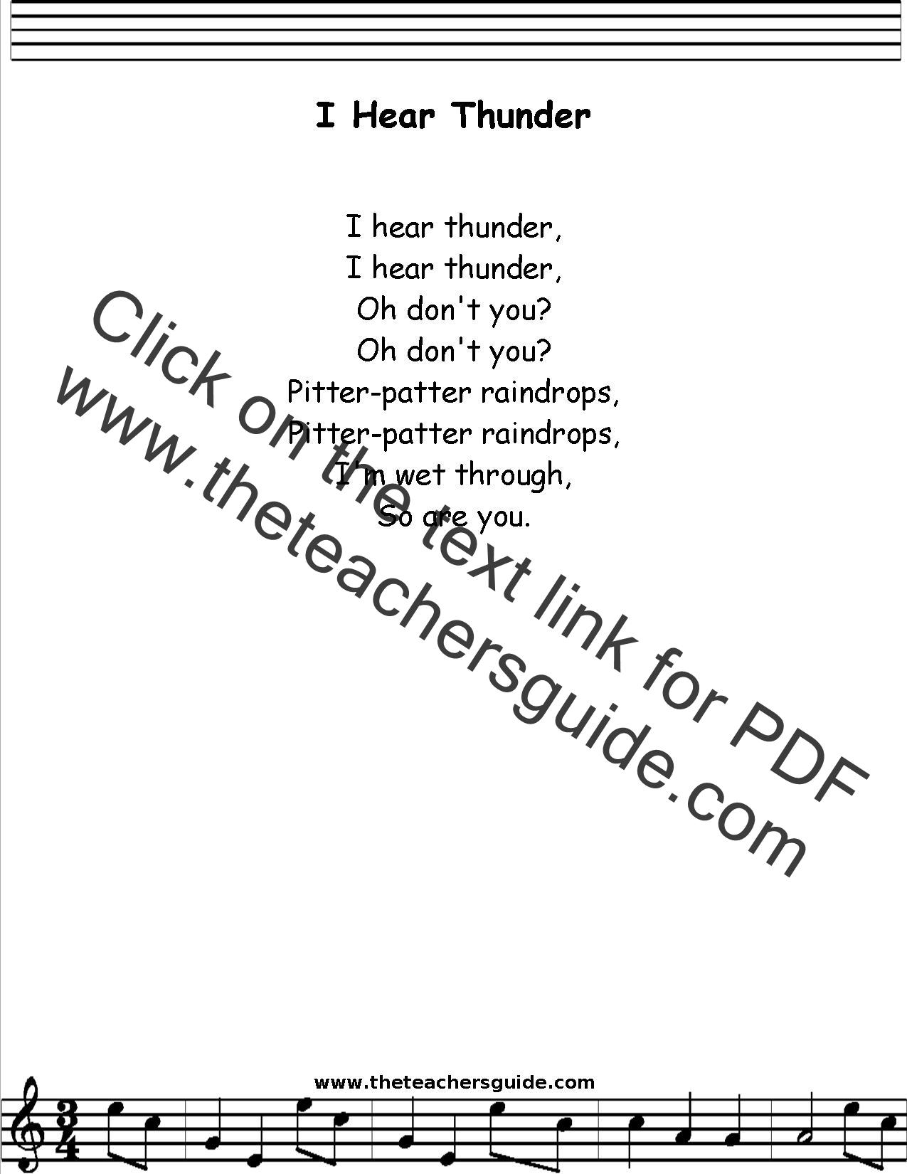 I Hear Thunder Lyrics Printout Midi And Video