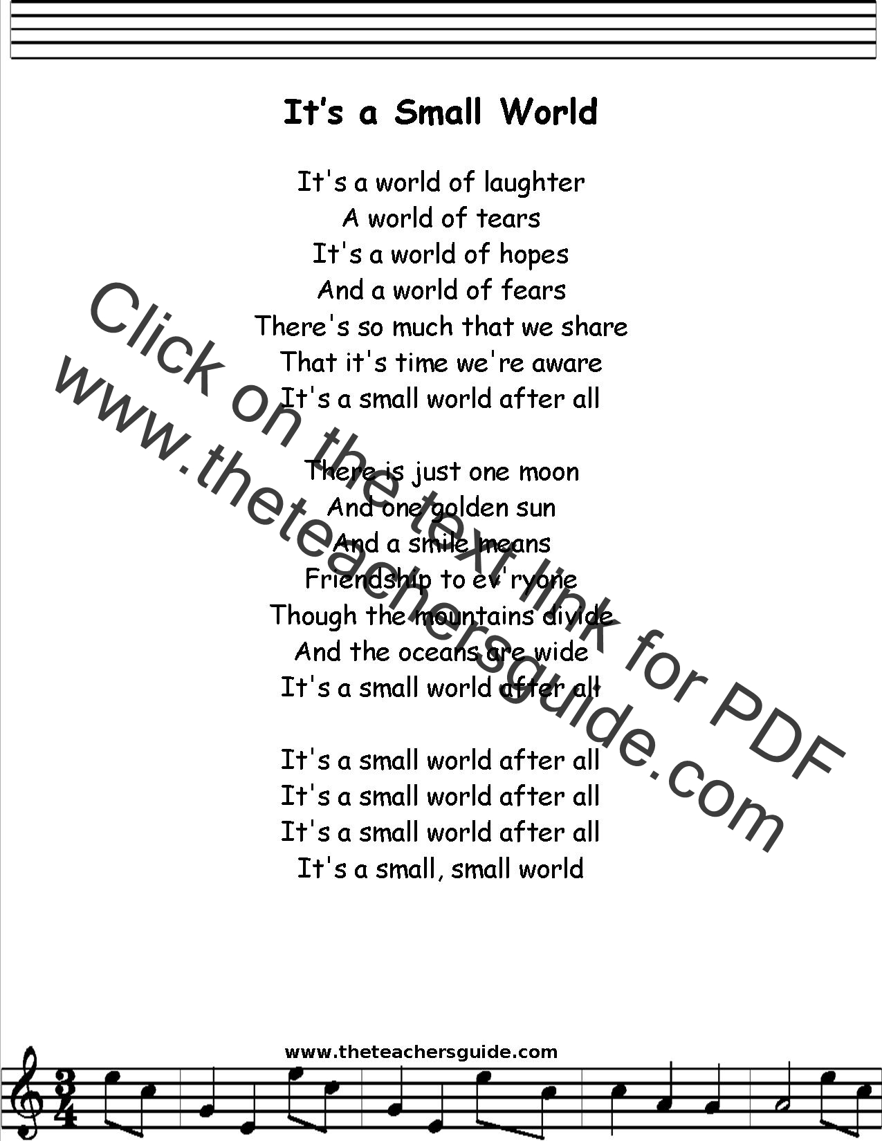 It S A Small World Lyrics Printout Midi And Video