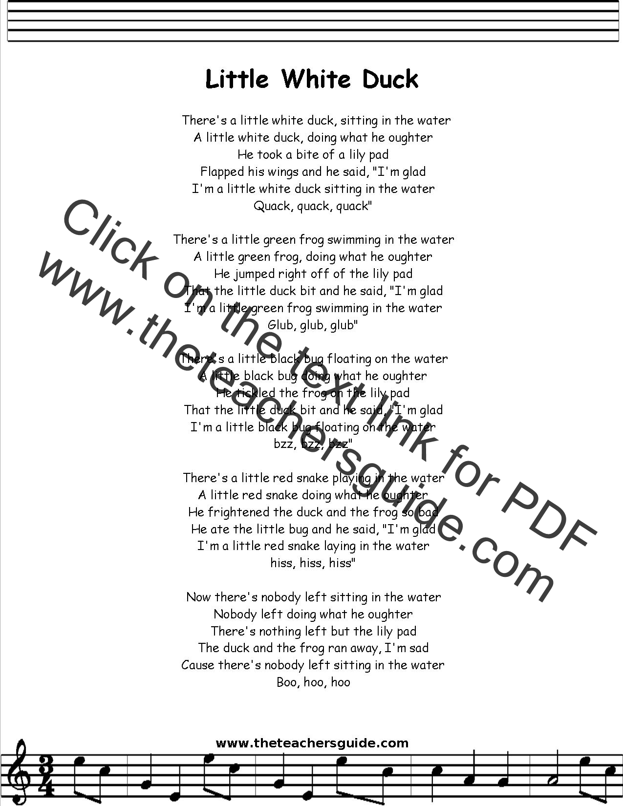 Little White Duck Lyrics Printout Midi And Video