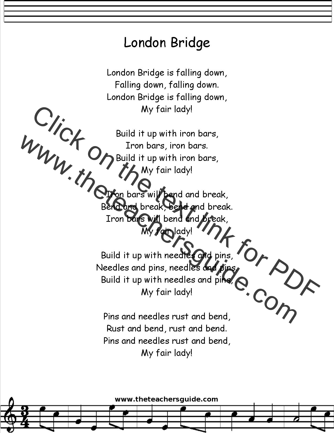 London Bridge Is Falling Down Lyrics Printout Midi And