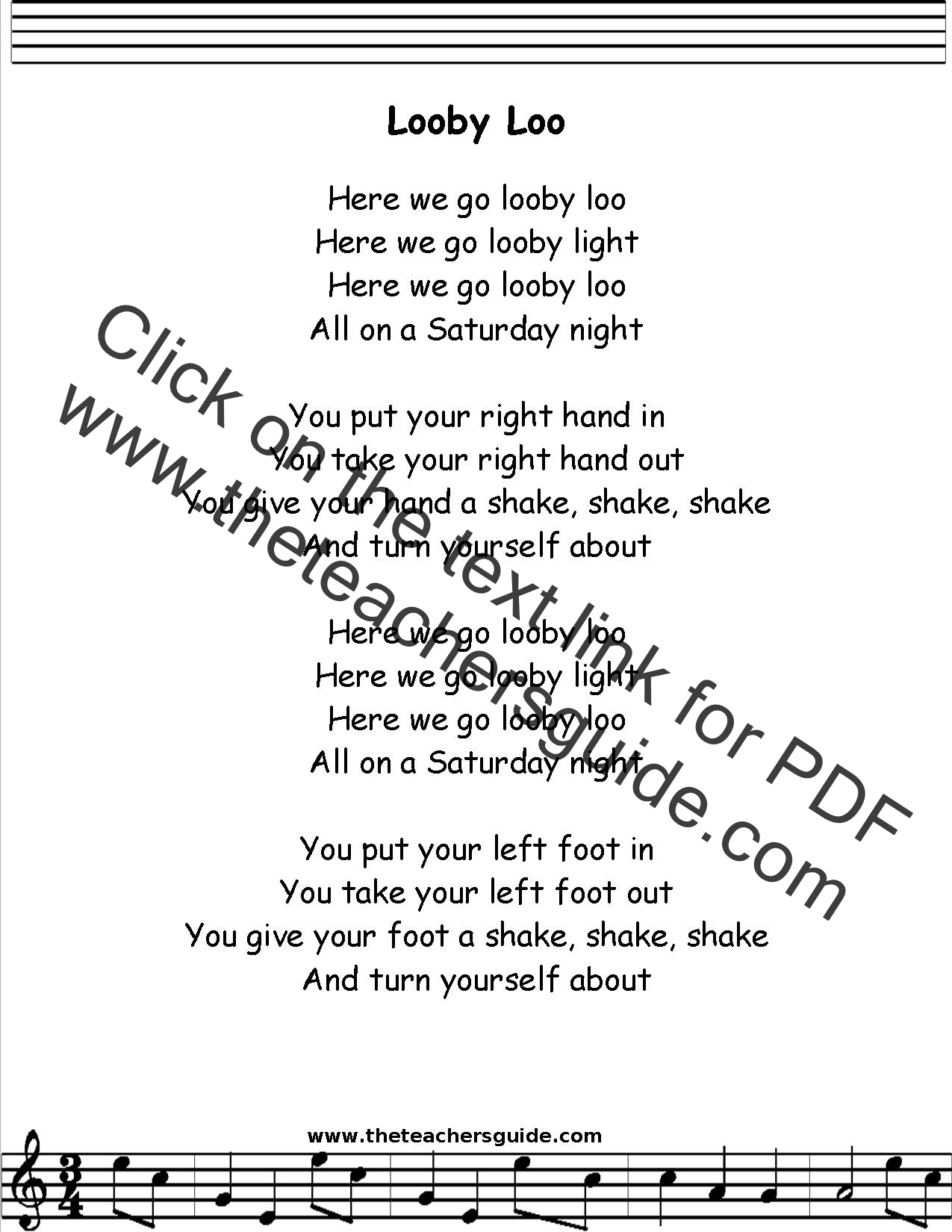 Looby Loo Lyrics Printout Midi And Video