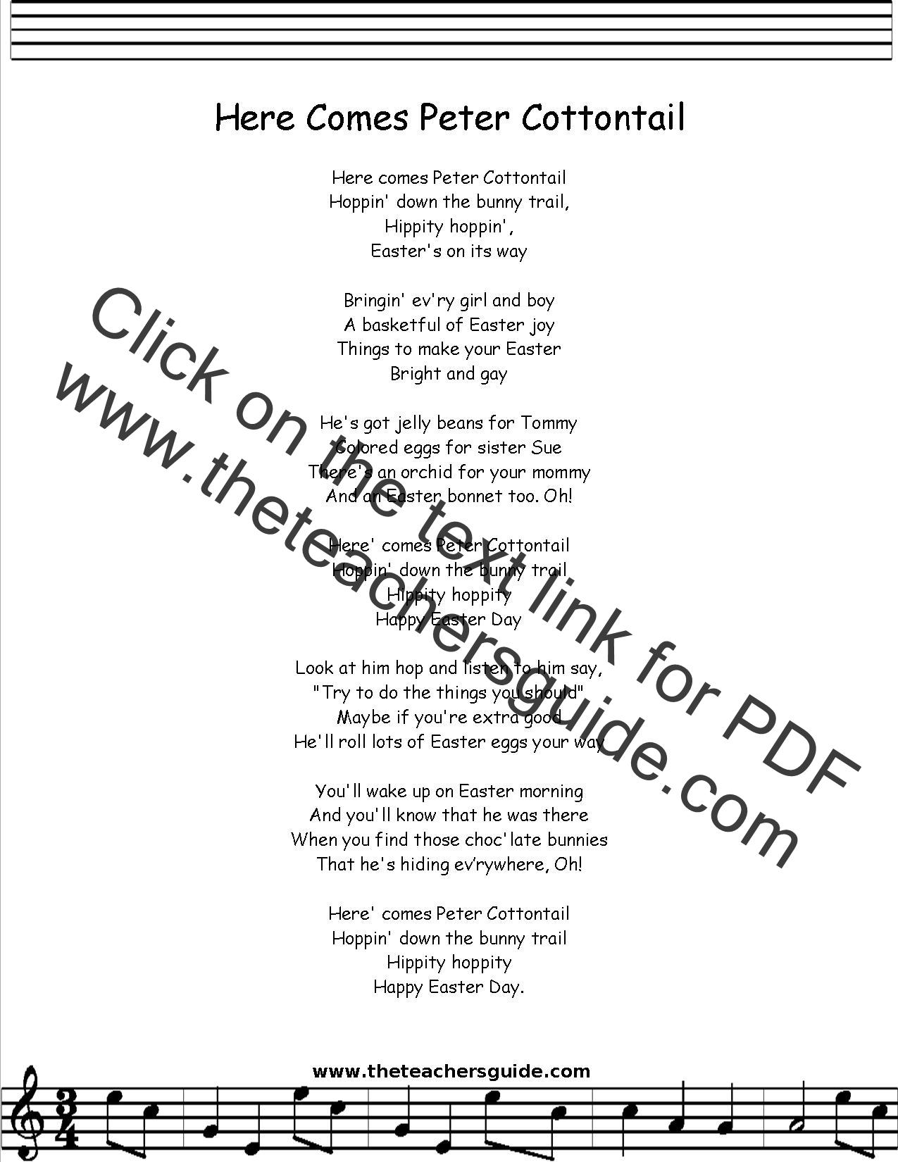 Peter Cottontail Lyrics Printout Midi And Video