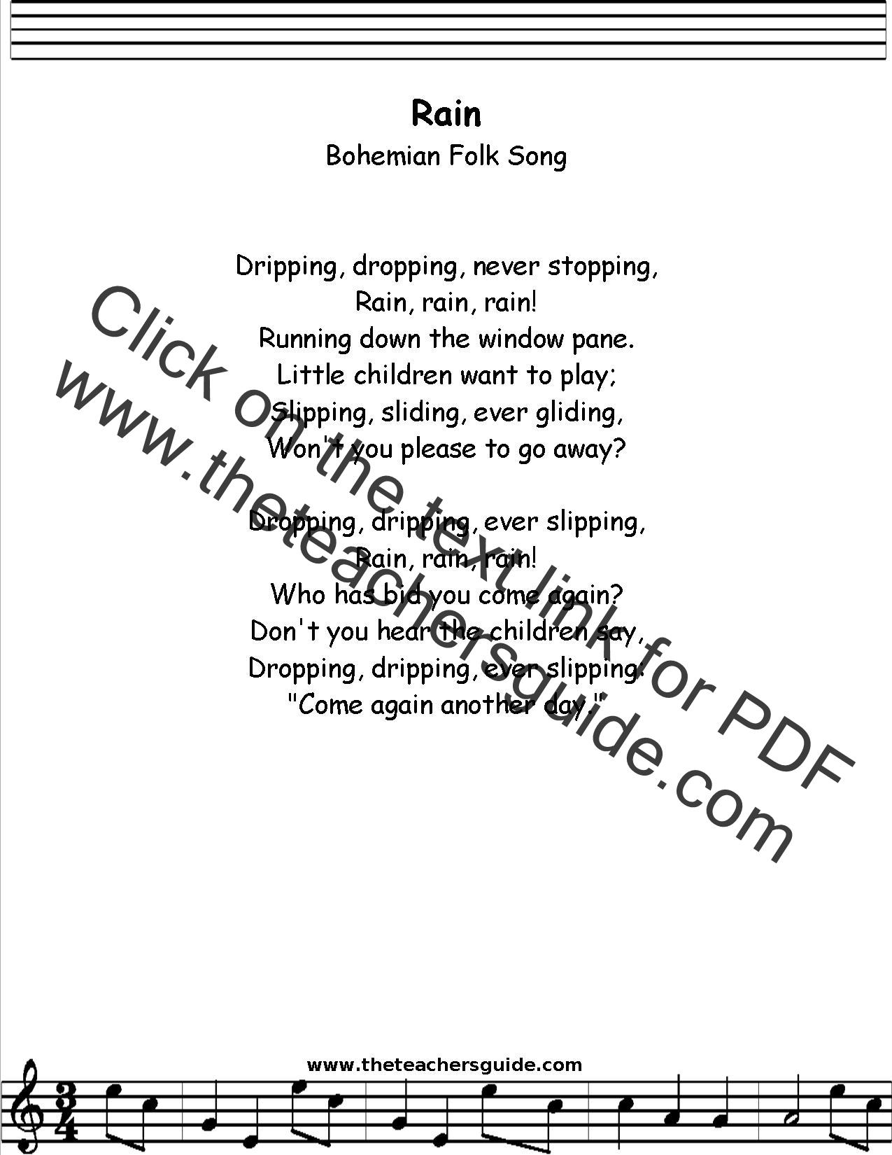Rain Bohemian Folk Song Lyrics Printout Midi And Video