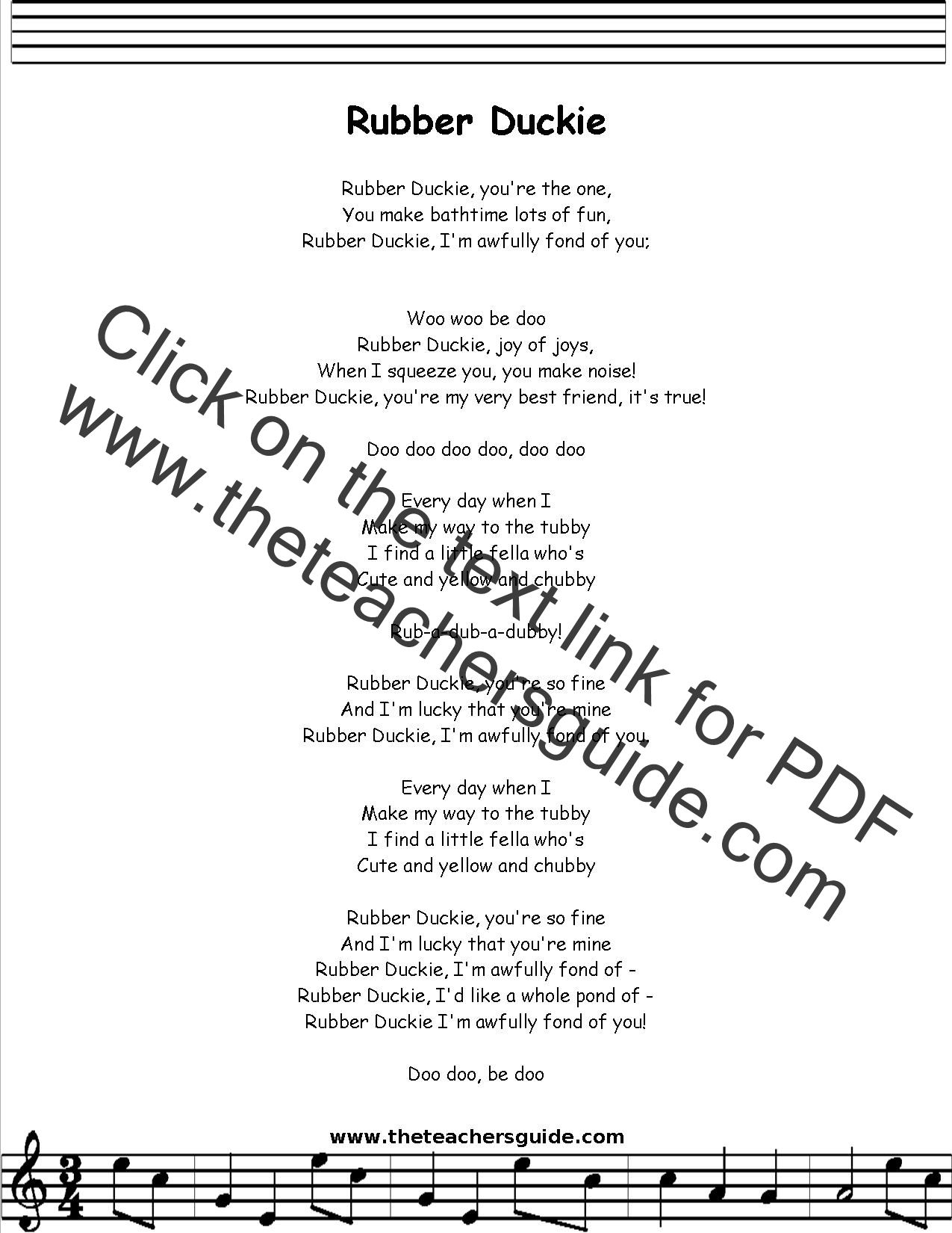 Rubber Duckie Lyrics Printout Midi And Video