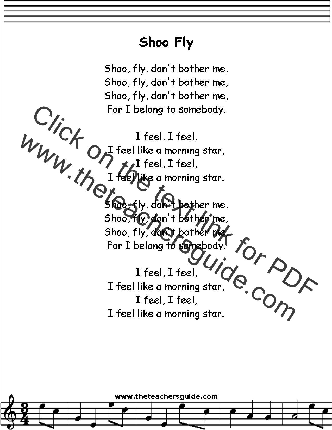 Shoo Fly Lyrics Printout Midi And Video