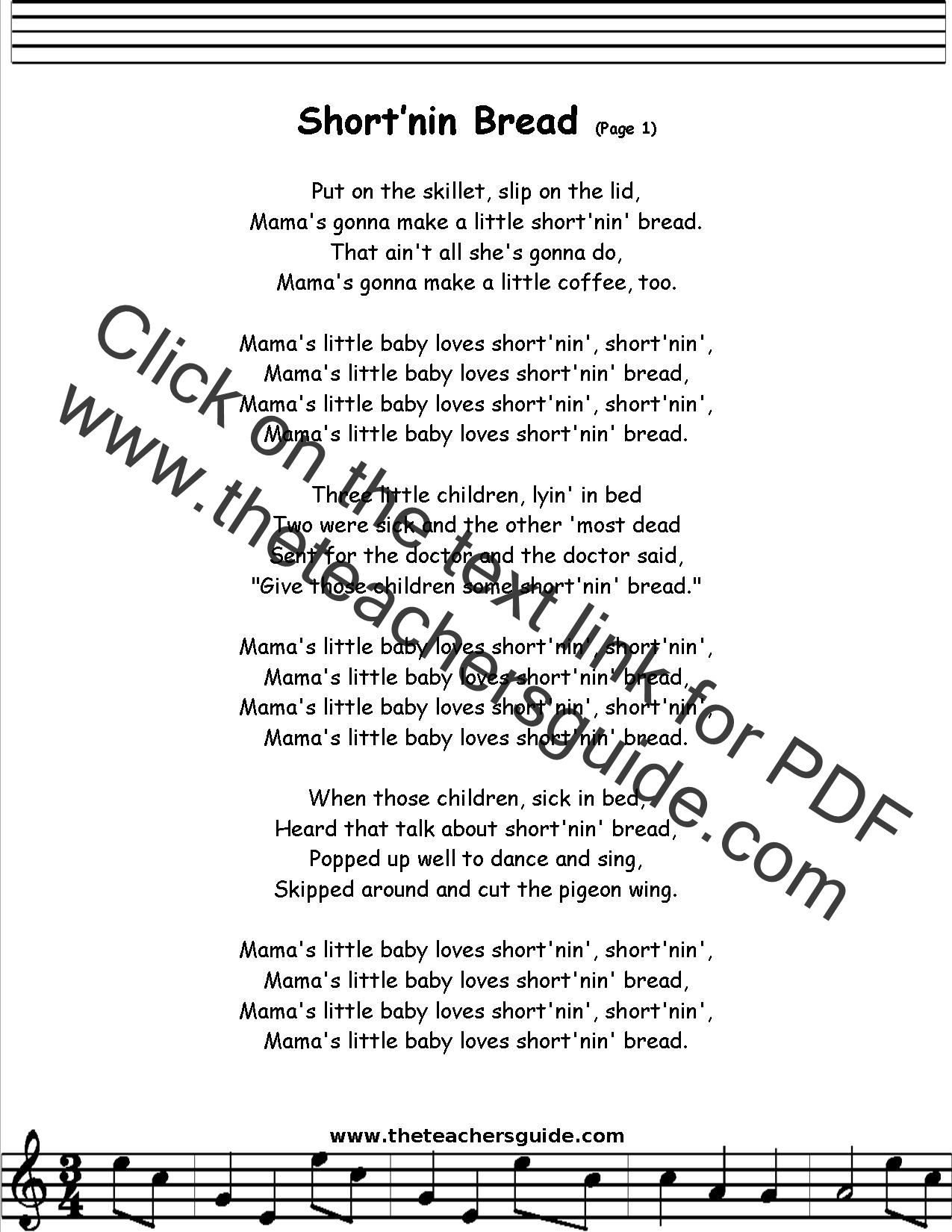 Shortnin Bread Lyrics Printout Midi And Video
