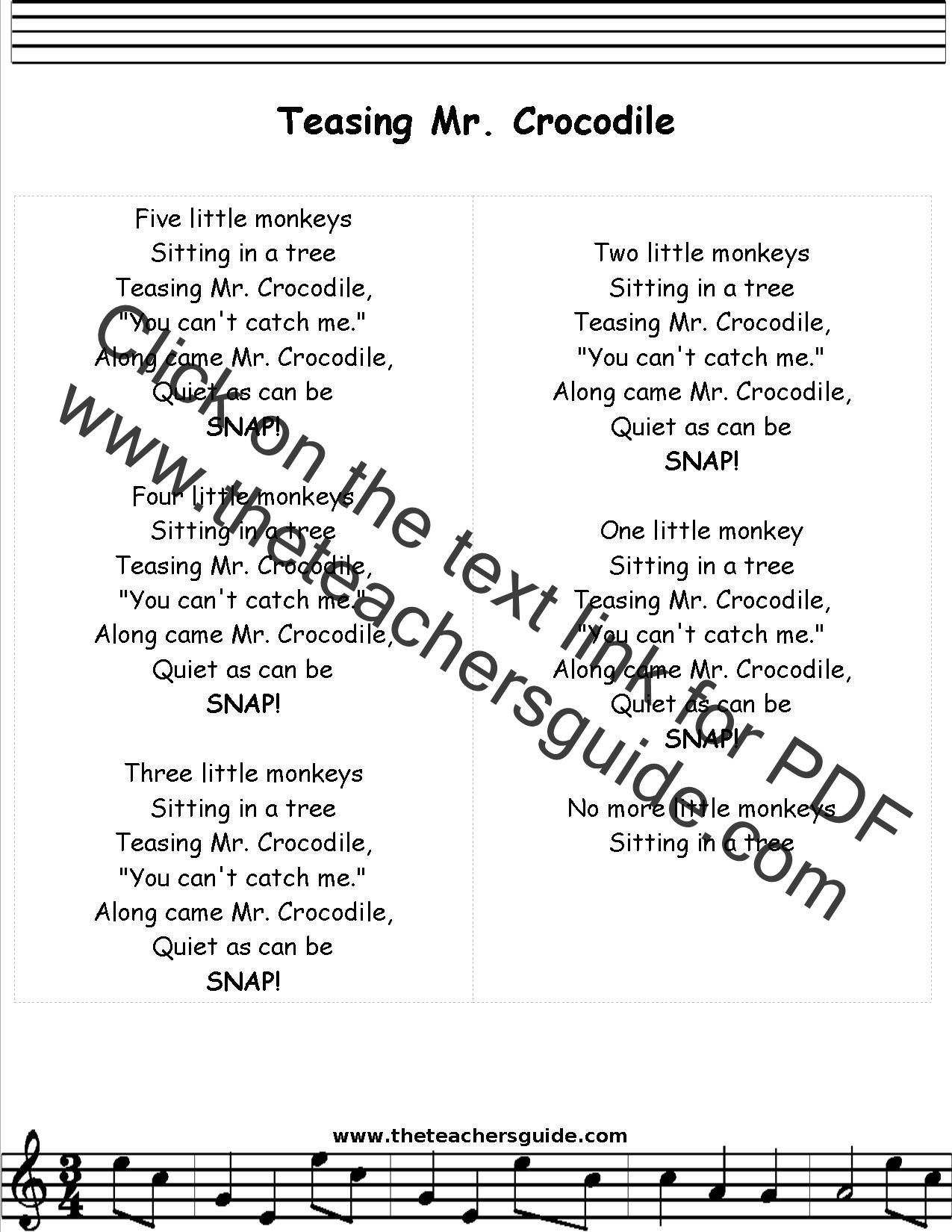 Five Little Monkeys Lyrics