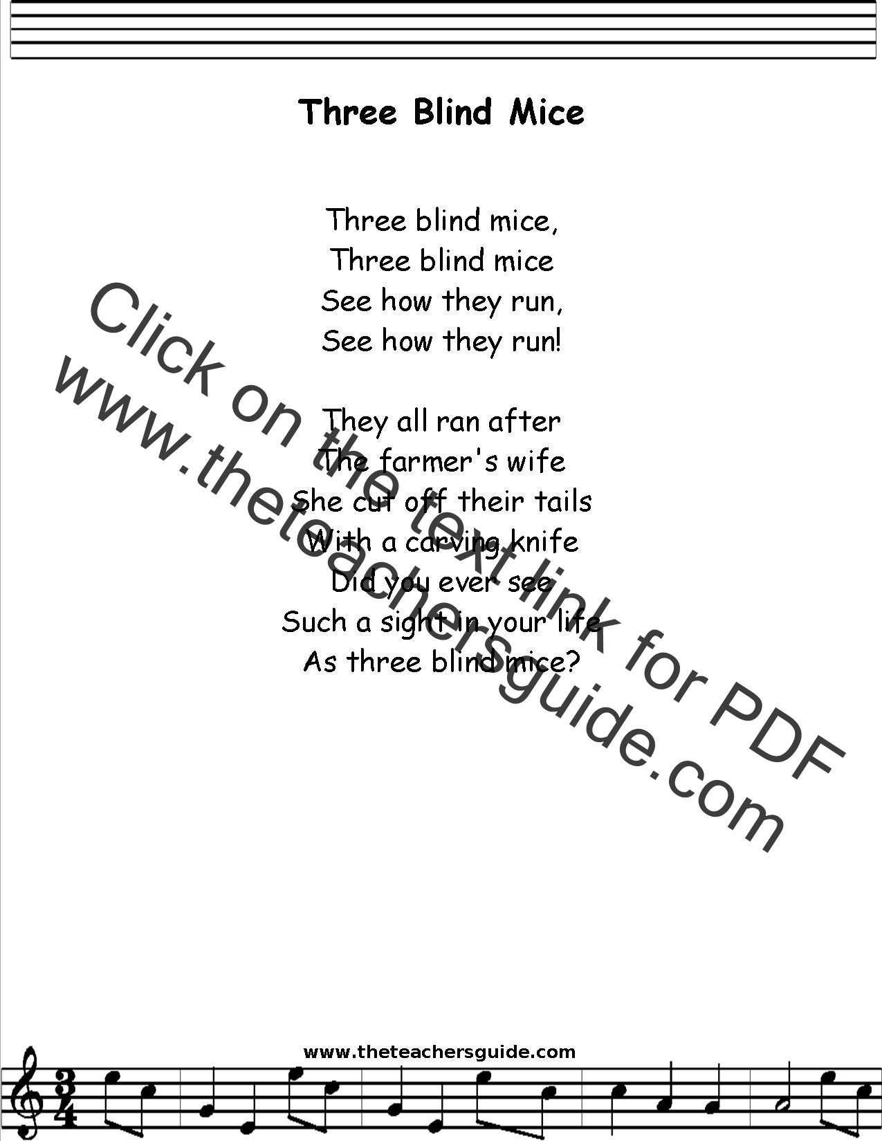 Three Blind Mice Lyrics Printout Midi And Video