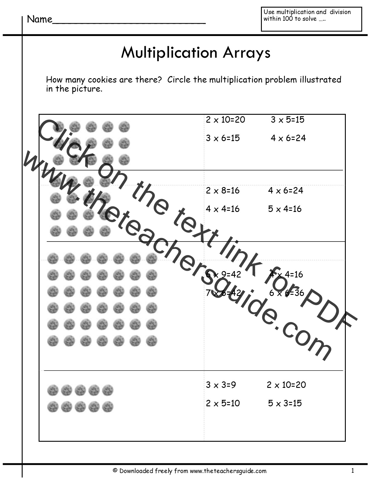 Arrays 2nd Grade Worksheet