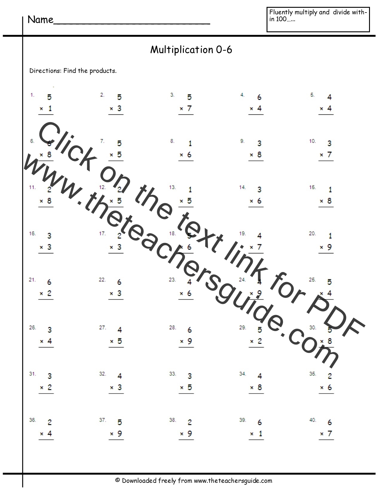 34 Multiplication Facts 0 12 Worksheet