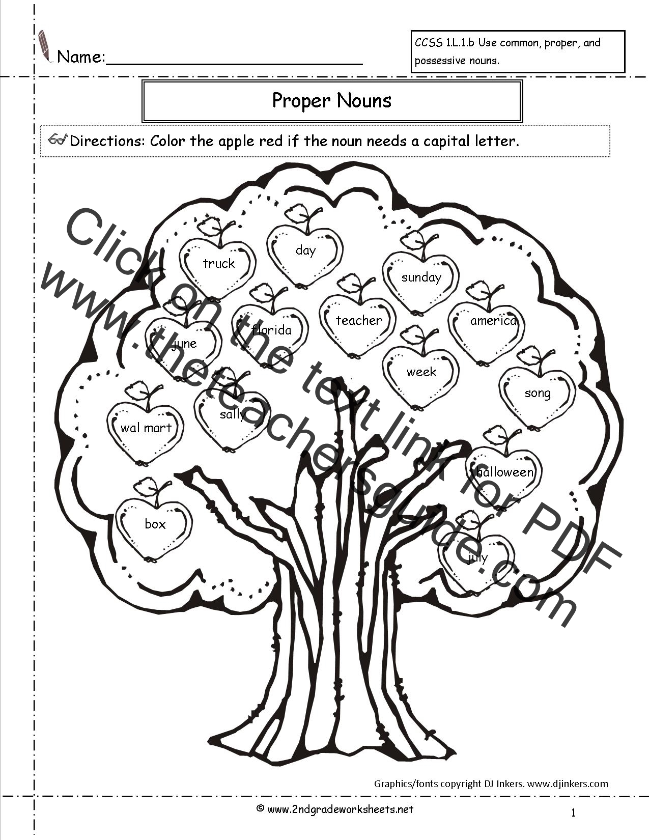 Common and Proper Nouns Worksheets from The Teacher's Guide