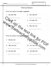 Place Value Worksheets from The Teacher's Guide