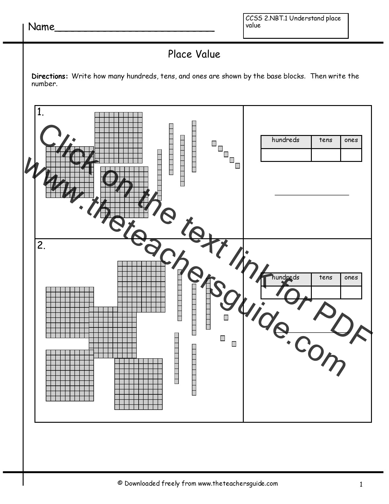 Place Value Worksheets From The Teacher S Guide