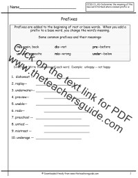 Free Prefixes and Suffixes Worksheets from The Teacher's Guide