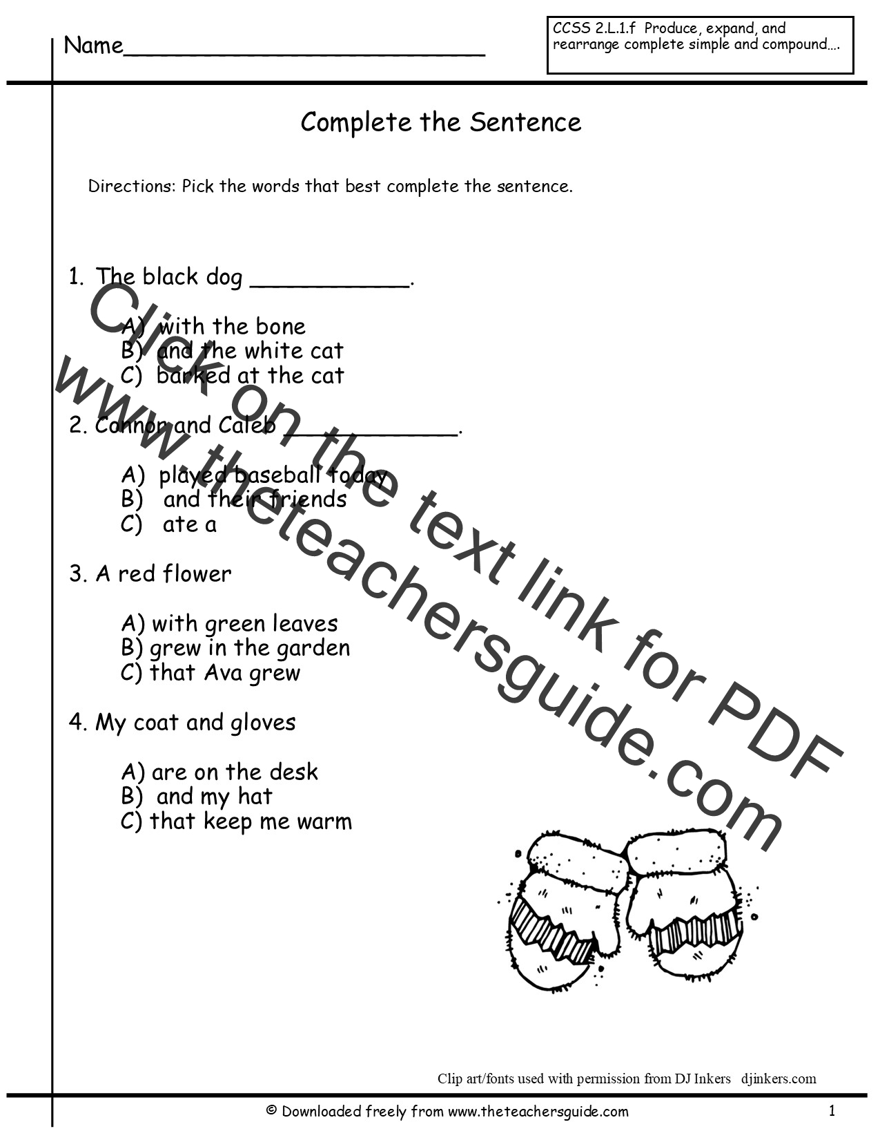 Correct Order Worksheet The Story