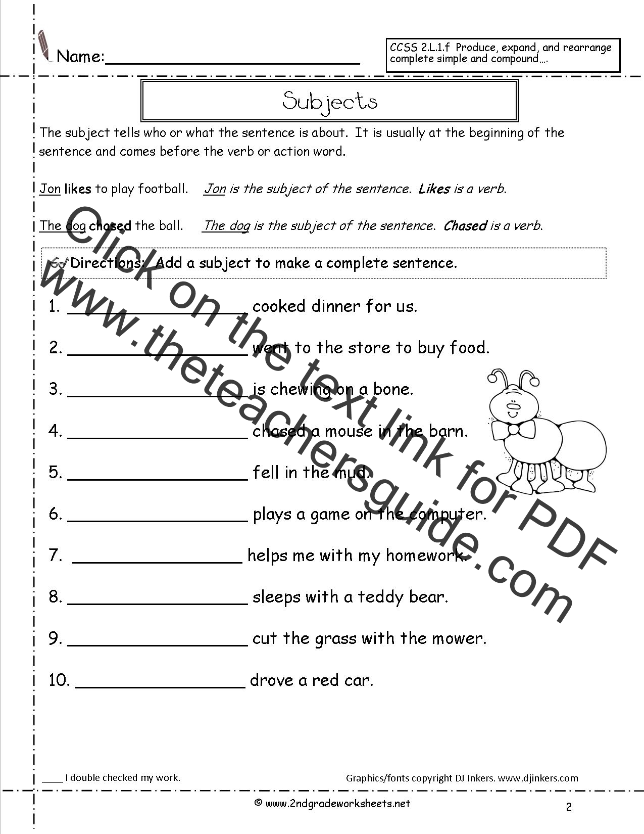 Subjectworksheet2