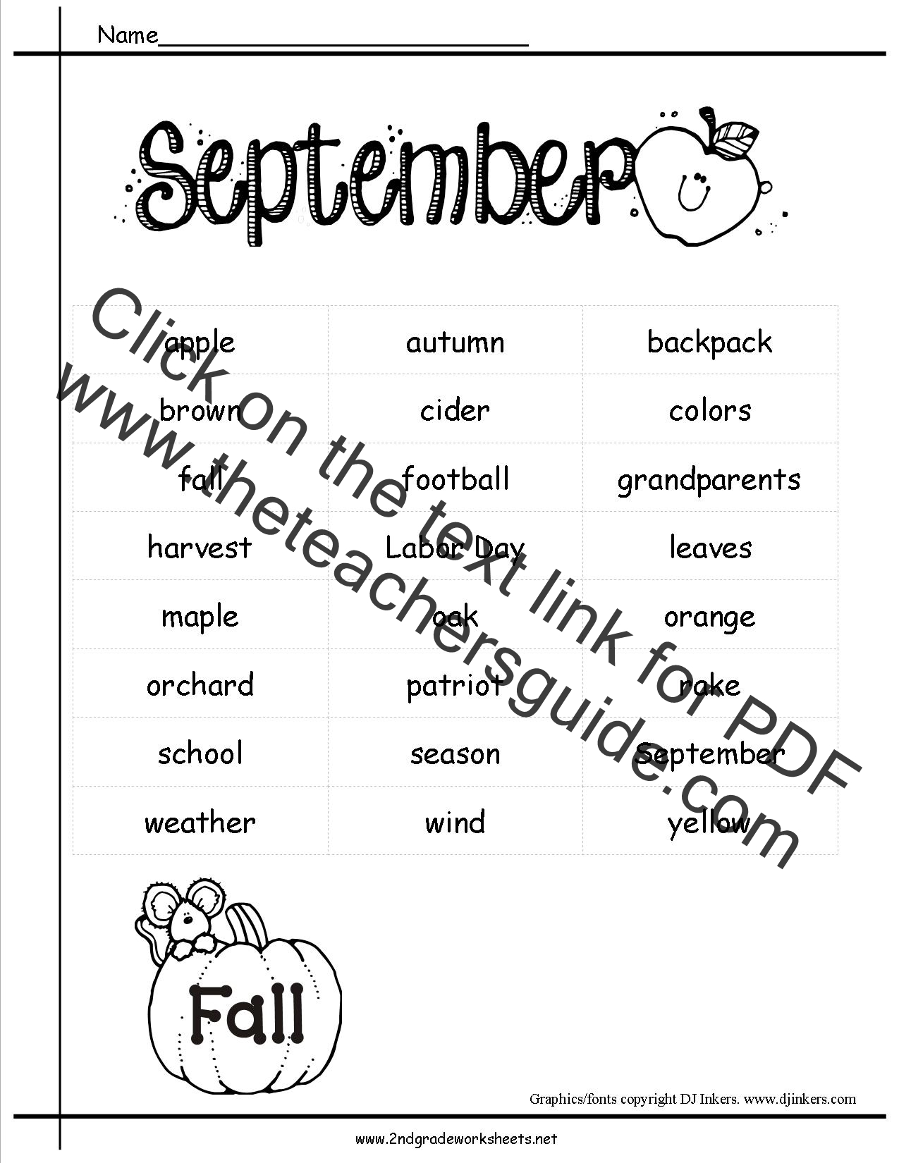 September Holidays Themes Lesson Plans Printouts And