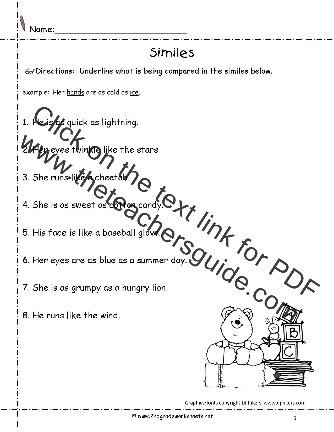 Simile Worksheets Second Grade Simile Best Free Printable Worksheets