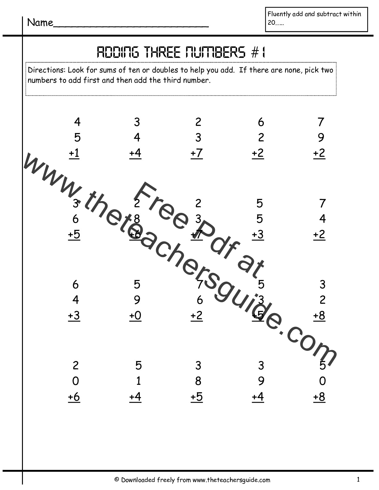 Adding Three Single Digit Numbers Worksheets From The Teacher S Guide