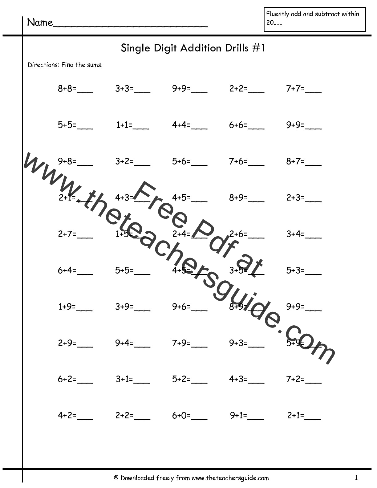 Single Digit Addition Fluency Drills From The Teacher S Guide