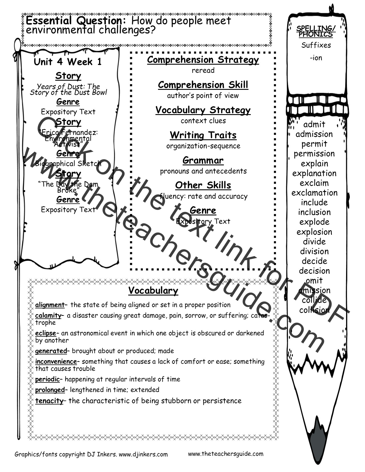 hight resolution of Wonders Sixth Grade Unit Four Week One Printouts