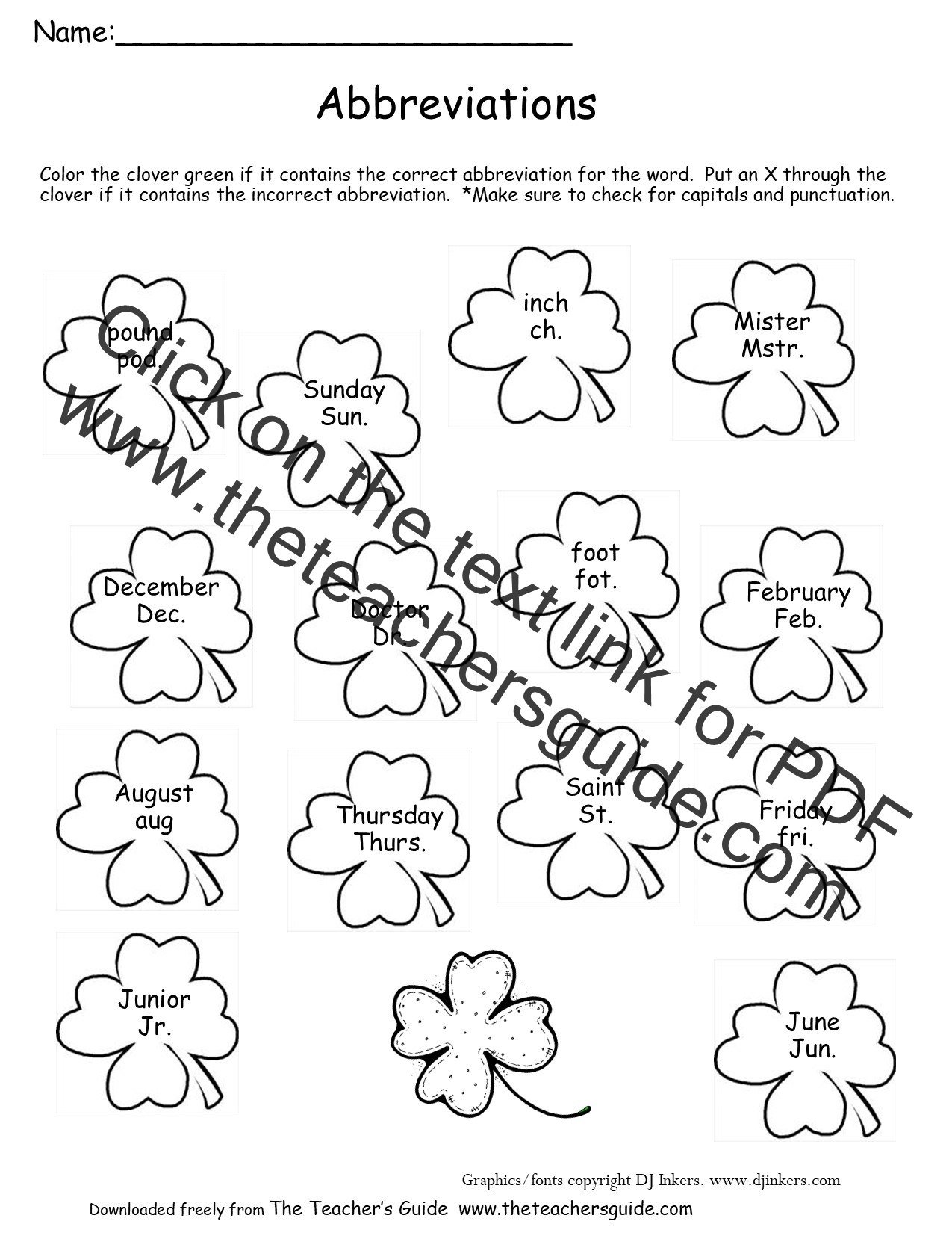 Mini Shamrock Worksheet
