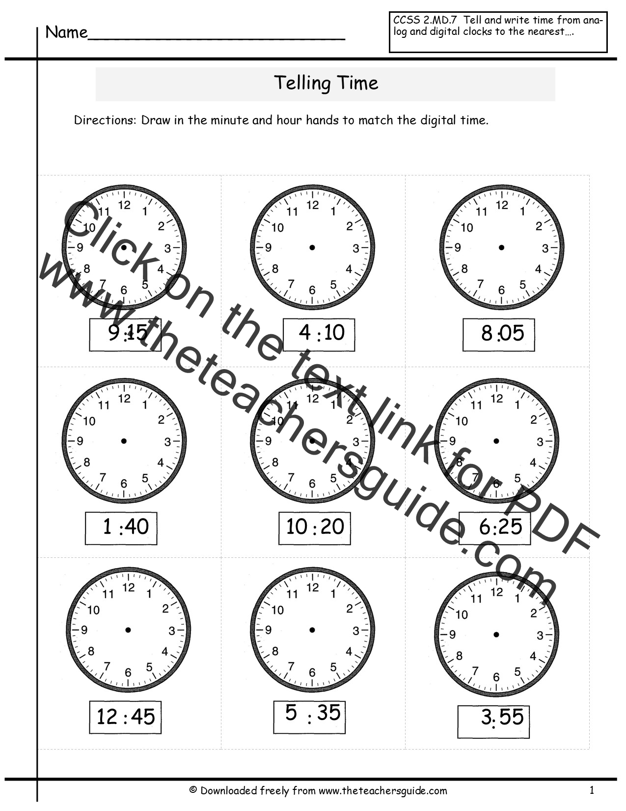 Printable Worksheets Telling Time To The Quarter Hour
