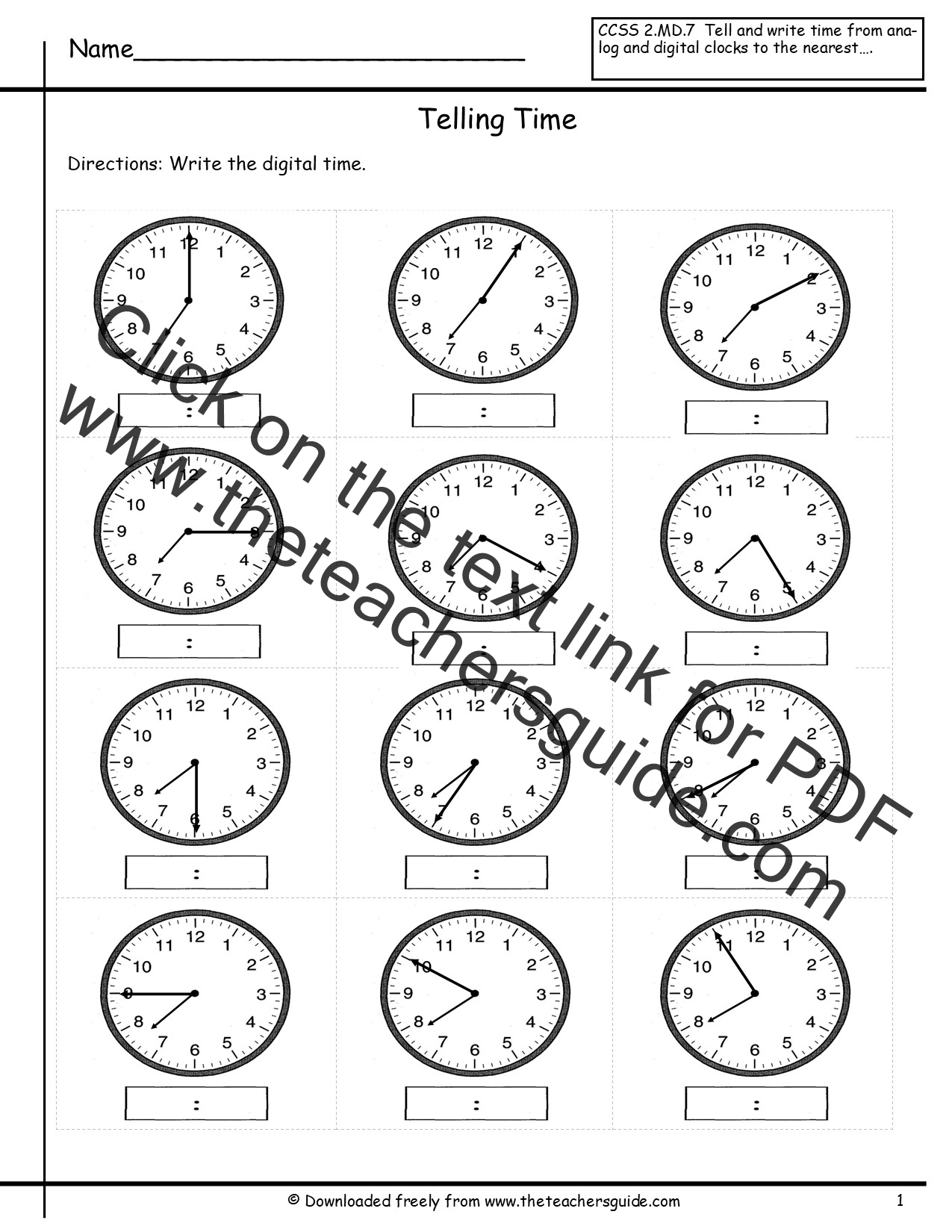 Ogue Clock Worksheets Year 4