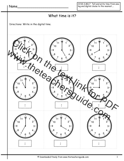 small resolution of Telling Time Worksheets from The Teacher's Guide