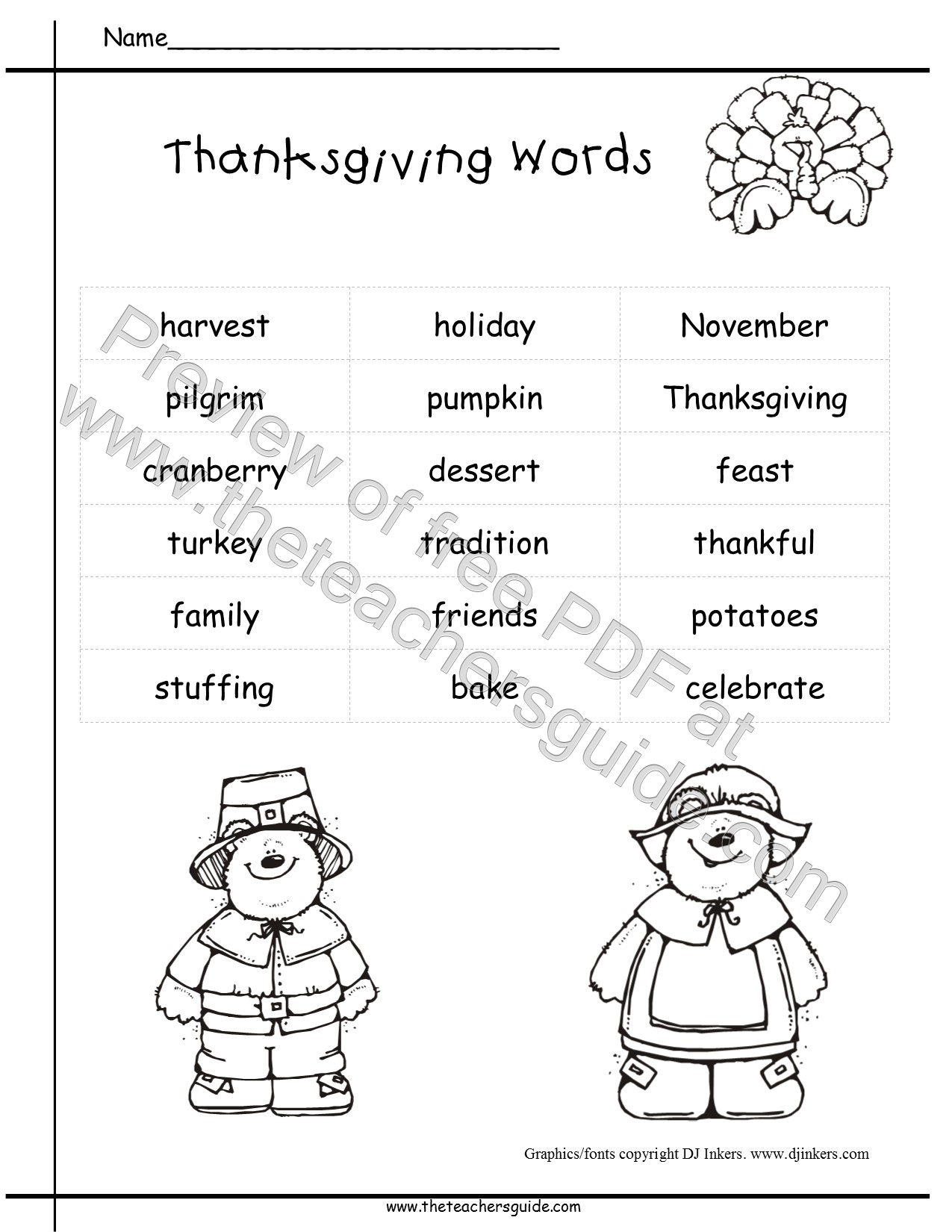 Thanksgiving Printouts from The Teacher's Guide