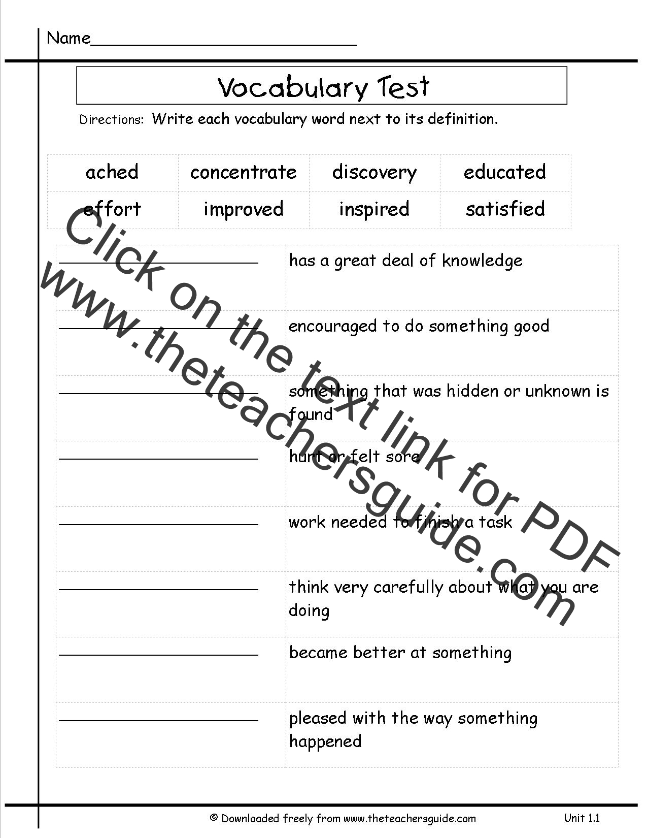 Vocabulary Worksheet Unit 7